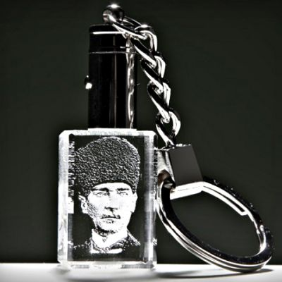 Kristal Sivil Kalpaklı Atatürk Anahtarlık