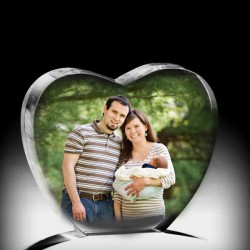 Kişiye Özel Kristal Dikey Kalp Renkli - Thumbnail